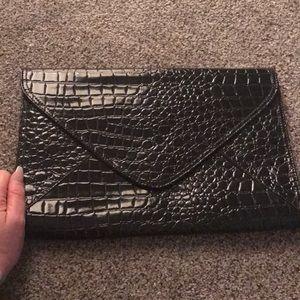 Large black crocodile clutch